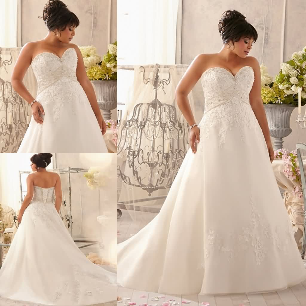 Empire waist plus size wedding dress sweetheart lace for Wedding dress with red ribbon on waist