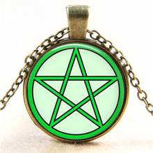 8 styles personality Colorful Pentagram vintage bronze Wicca glass Pendant Necklace Occult charm necklaces pendants