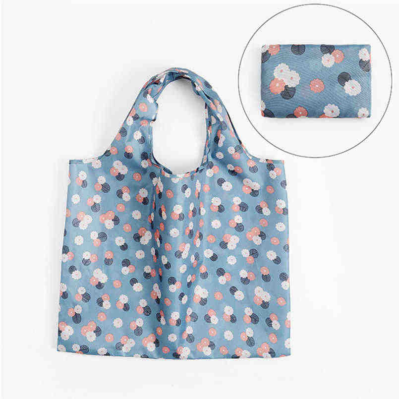 Cartoon shopping bag folding green bag polyester large transparent bag wardrobe organizer zip lock plastic bags cosmetics @12
