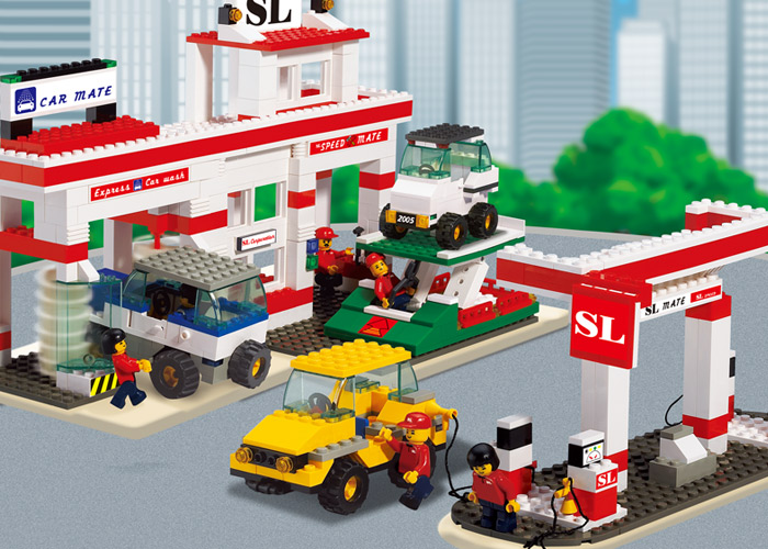 model building kits compatible with lego city gas station 639 3D blocks Educational model & building toys hobbies for children