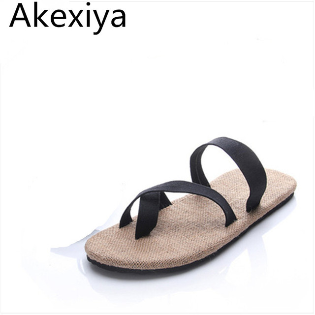 9c68f6c78bf63f Akexiya Famous Brand Designer Straw Men Casual Sandals Slippers Genuine Shoes  Open Toe Flip flops Summer Outdoor Beach Men Shoes