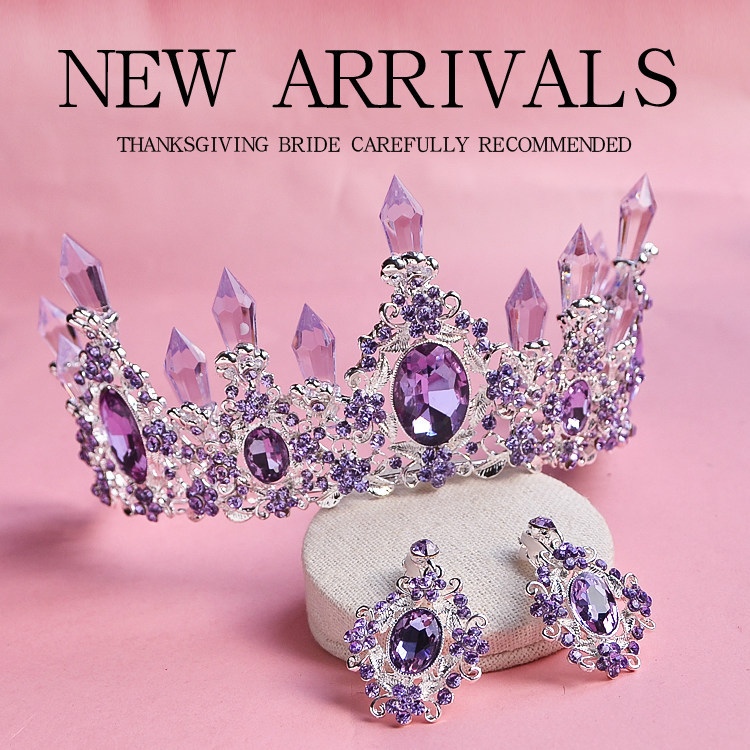 2016 New Arrival Charming Purple Crystal Bridal crown tiaras Magnificent Rhinestone Diadem for Princess Wedding Hair Accessories