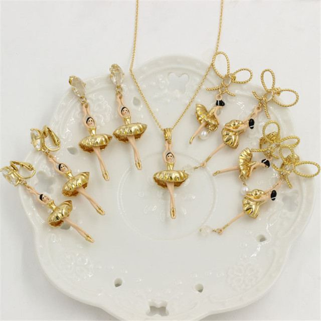 High Quality Ballet Dancer  ballerinas Earring Necklace Jewelry Sets For Women Lady Party Accessories Elegant All-match
