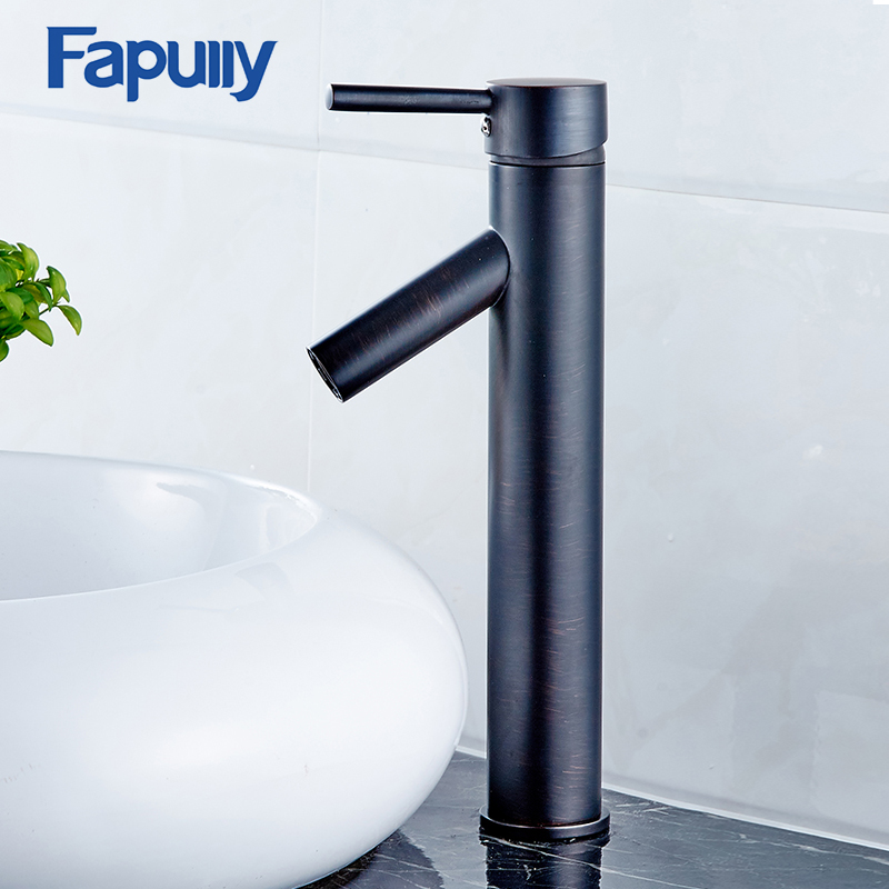 Fapully Basin Faucet Deck Mounted Cold and Hot Oil Rubbed Bronze Water Taps Mixer Single Handle Black Bathroom Sink Faucet free shipping concealed installation black color basin faucet hot and cold water wall mounted basin faucet bf999a
