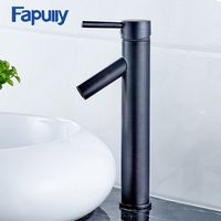 Fapully Basin Faucet Deck Mounted Cold and Hot Oil Rubbed Bronze Water Taps Mixer Single Handle Black Bathroom Sink Faucet