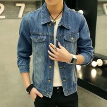 2017 Men Denim Jacket Casual Slim Jean Jacket Coat Outdoors Fashion Autumn Long Sleeve Jacket Masculino Outwear Patchwork M-3XL