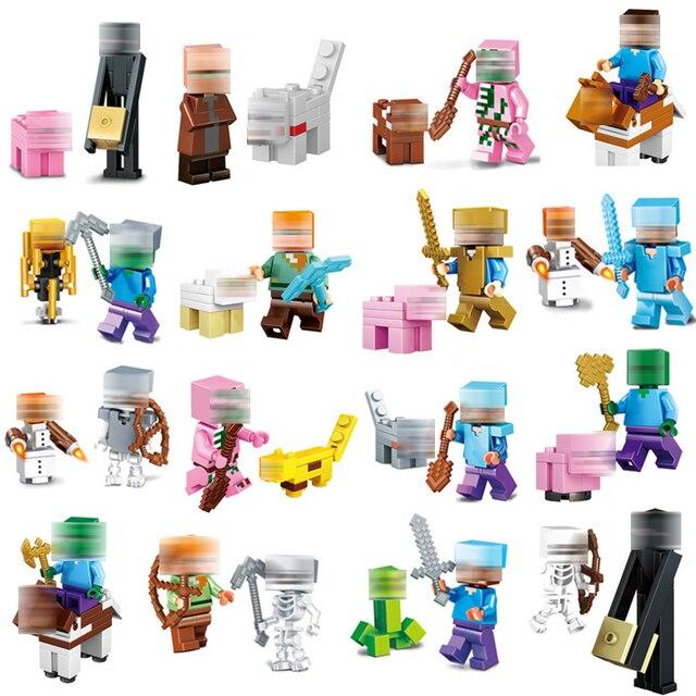 Minecrafted LegoINGlys Zumbis Esqueleto Minifigure Compatível LegoINGlys Steve Dom Conjunto de Blocos de Construção Tijolos Brinquedos Para Crianças