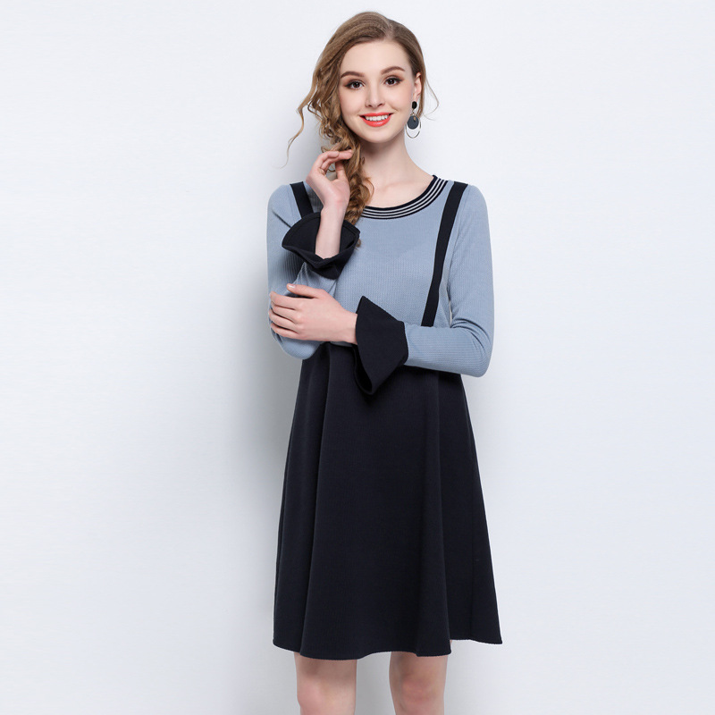 Plus size L 5XL splicing women knitted dress elegant fashion round collar flare sleeve loose dresses