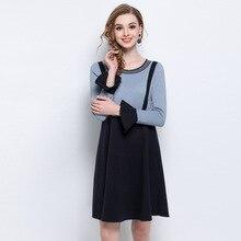 Большие размеры L-5XL Сращивание женщины трикотажное платье элегантные модные круглый вырез горловины рукав «фонарик» свободные платья для ожирением женщины HM1074