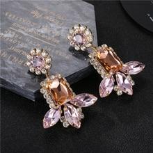 Luxury Flower Crystal Dangle Earrings Trendy Boho Statement Big Gems Wedding Engagement Drop Women