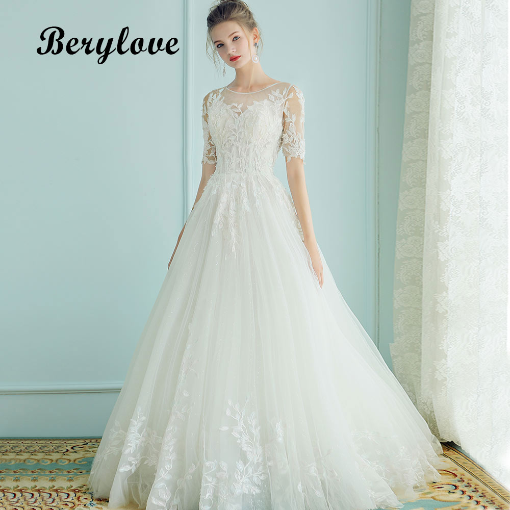 BeryLove Elegant A Line Wedding Dresses 2018 With Sleeves Long Beaded Lace Wedding Dress China Women Styles White Wedding Gowns