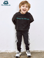 Mini Balabala Kids 2 Piece Graphic Sweatshirt + Sweatpants Set Children Toddler Boy Pull Over Tops + Joggers Pants Clothing Set