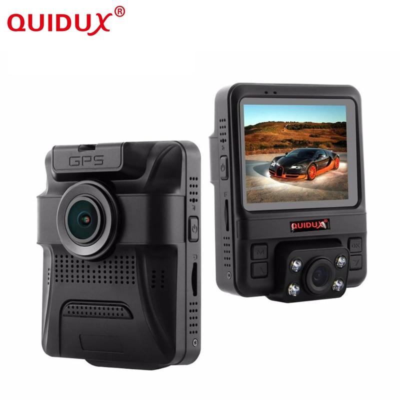 QUIDUX Novatek 96655 Car DVR Dual Camera GPS Tracker Super HD 1296P Night Vision Dual Lens Dash Cam 150 Degree Angle Lens Camera car dvr wifi app car camera for bmw 3 serial e90 e91 novatek 96655 car dvrs night vision 170 degree powered by dome light