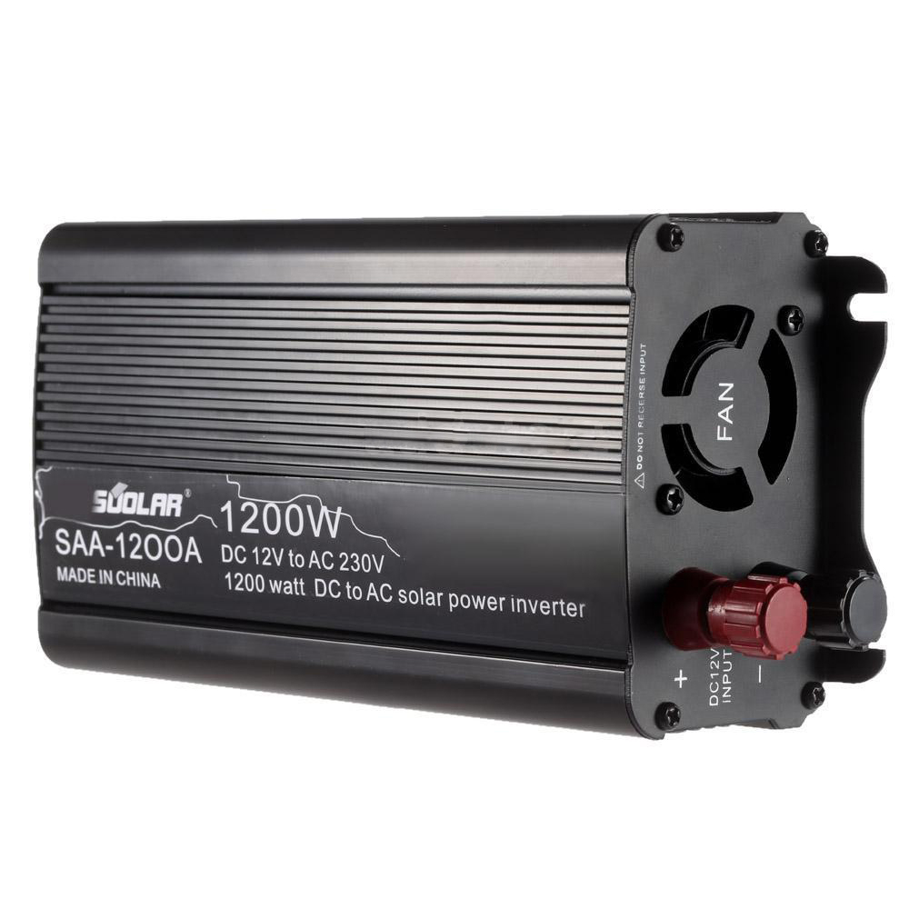 1200W DC12V to AC220-240V AC Household Solar Power Inverter Converter Black maylar 22 60vdc 300w dc to ac solar grid tie power inverter output 90 260vac 50hz 60hz