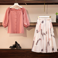 L 4XL Large Plus Size Two Piece Skirt Set Women Clothes Summer 2019 Pink Top and Print Pleasted Skirts Smart Casual Pink Set