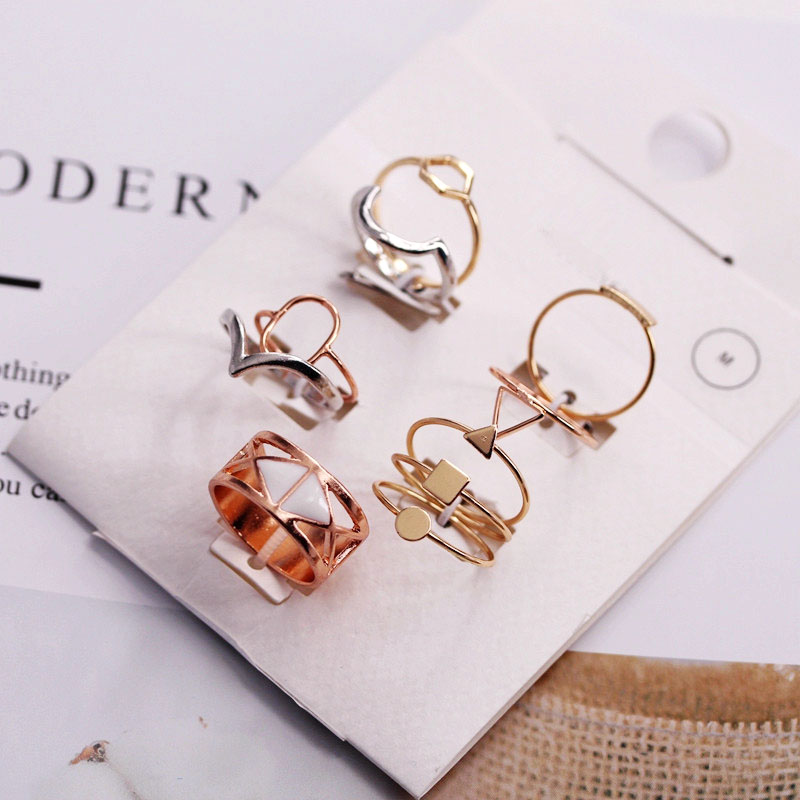 LUXSHINE 10 Pcs/lot Vintage Knuckle Ring Set for Women  Korean Rose Gold Rings Valentines Gift Jewellery Wholesale Lots Bulk