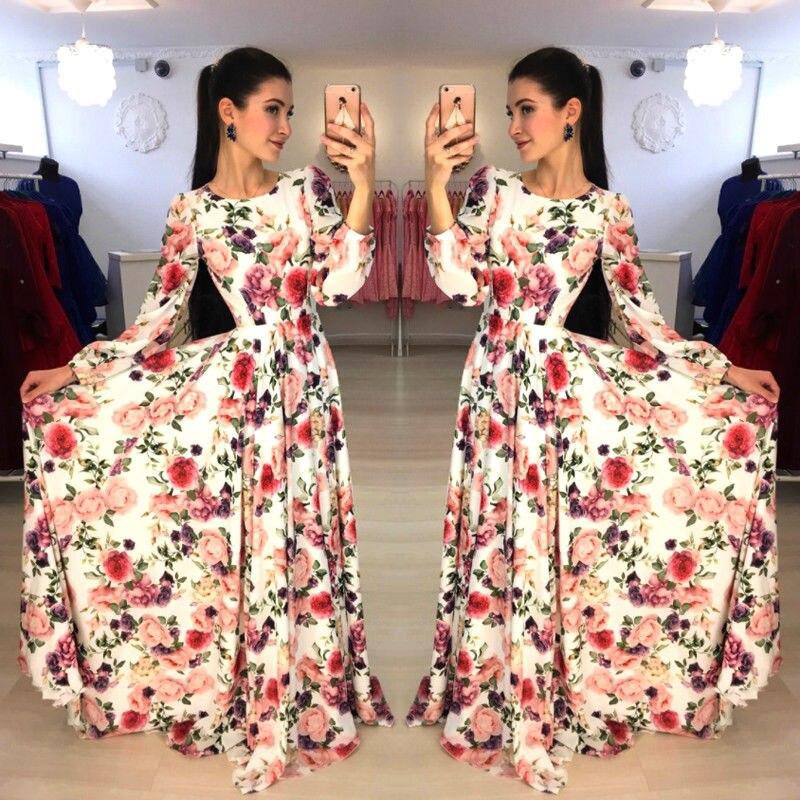 2019 Spring Long Dress Floral Print Boho Beach Dress Tunic Maxi Dress Women Evening Party Dress Sundress Vestidos De Festa XL