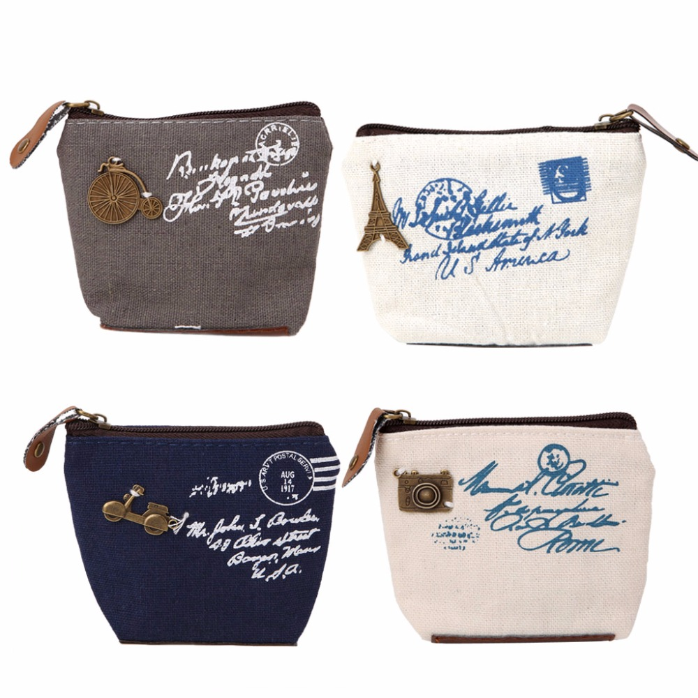 Women Girl Retro Coin Purses and Wallets New Card Holder Case Handbag Letter Printing Gift THINKTHENDO Brand New Cute Small Bags