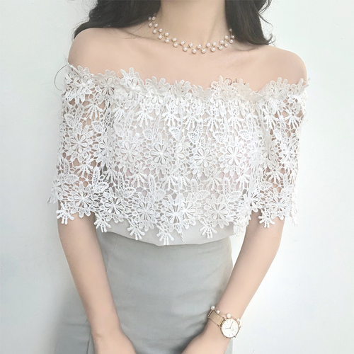 Summer women blusas Tops Goddess Fan slash neck sweet lace hollow short-sleeved shirt sexy strapless chiffon shirt Off White