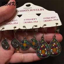 BOAKO 3Pairs/Set Bohemian Earrings Vintage Boho India Ethnic Water Drip Hanging Dangle Drop for Women Fashion Jewelry