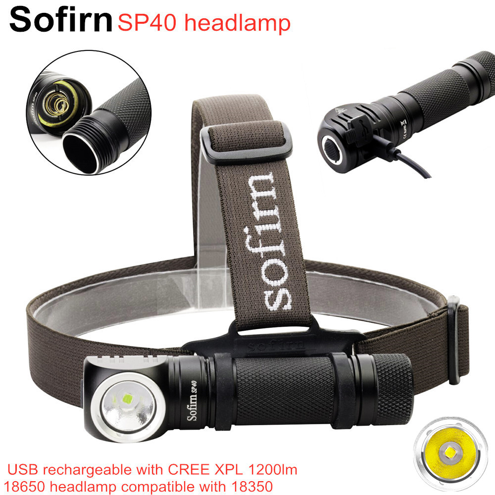 Sofirn SP40 LED Headlamp Cree XPL 1200lm 18650 USB Rechargeable Headlight 18350 Flashlight 4 Modes with Memory Power Indicator