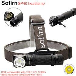 Sofirn SP40 linterna frontal LED Cree XPL 1200lm 18650 linterna 18350 recargable USB con indicador de potencia cola magnética