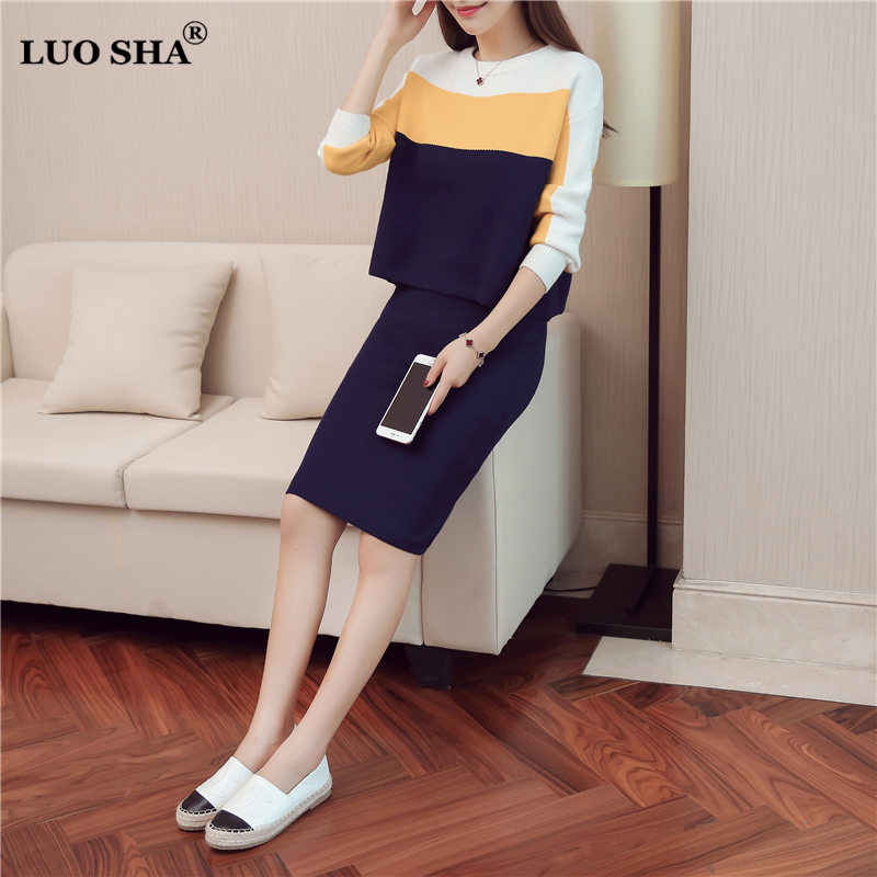 LUO SHA Soft Women Sweat Suits Striped Woman Suit Female Sweater Top and Skirt Set Suit for Women Survetement Femme 2 piece