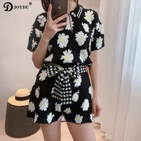 Fashion Brand Summer Small Daisy Jacquard Women Sets Short Sleeve Tops And Shorts Set 2 Piece Set Women Tracksuit Casual Outfit