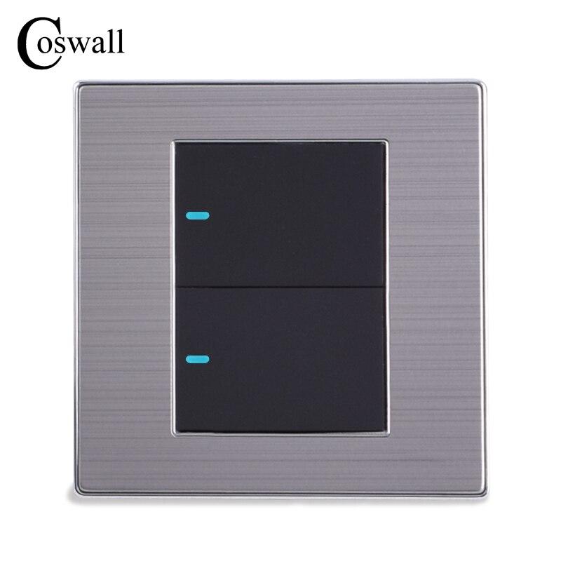 Coswall 2 1 camino de Interruptor de luz LED Botón de empuje Interruptor de pared Interruptor de plata cepillado Panel 10A AC 110 ~ 250 V