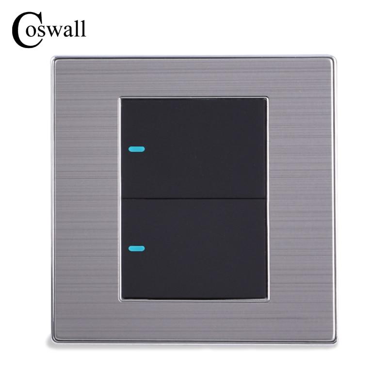 Coswall 2 Gang 1 Way Luxus LED Lichtschalter Taster Wand Schalter Interruptor Gebürstet Silber Panel 10A AC 110 ~ 250 V