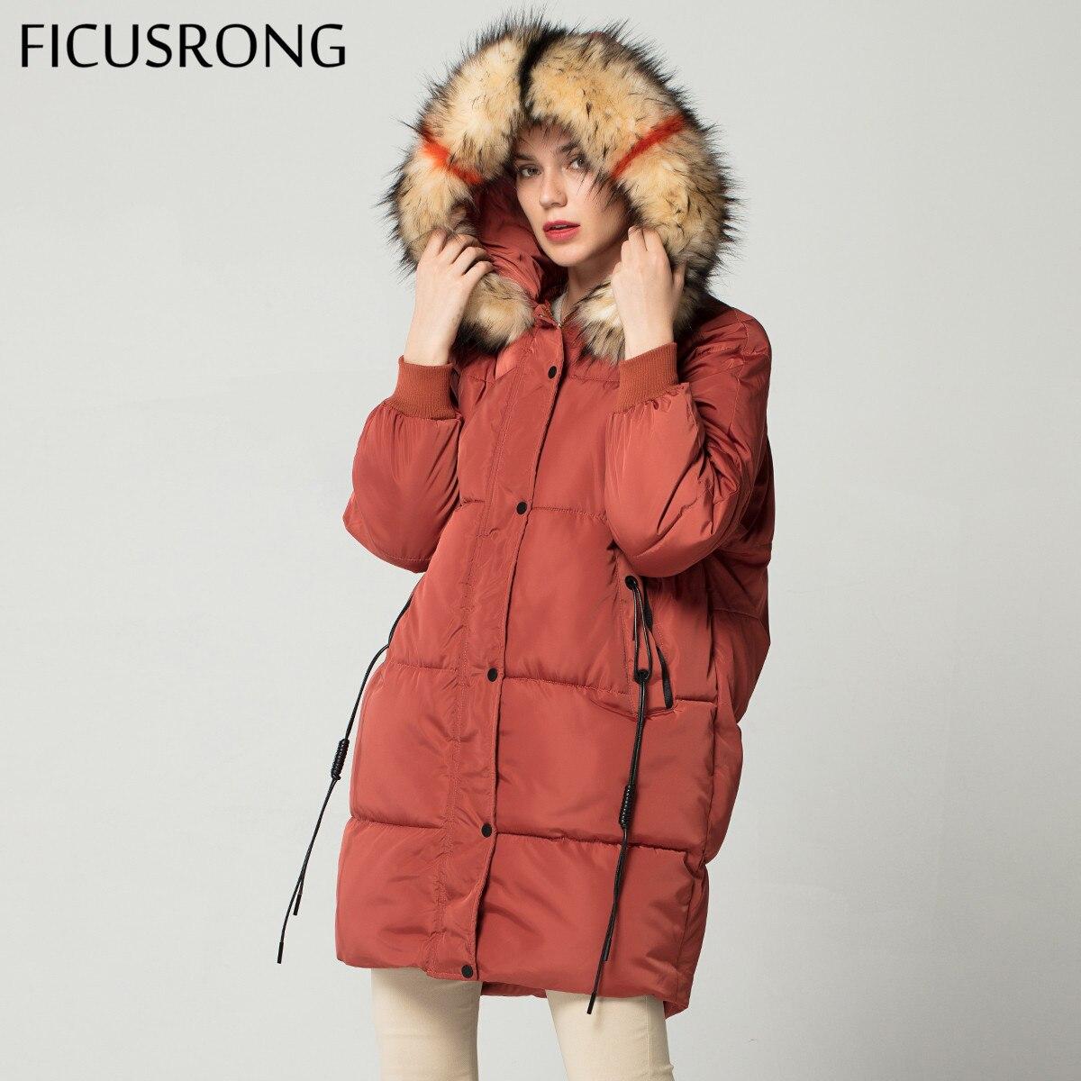 Fashion Plus Size Loose Warm Winter Jacket Women Hooded Fur Coat Down Parkas Long Cotton Padded Jacket Female FICUSRONG
