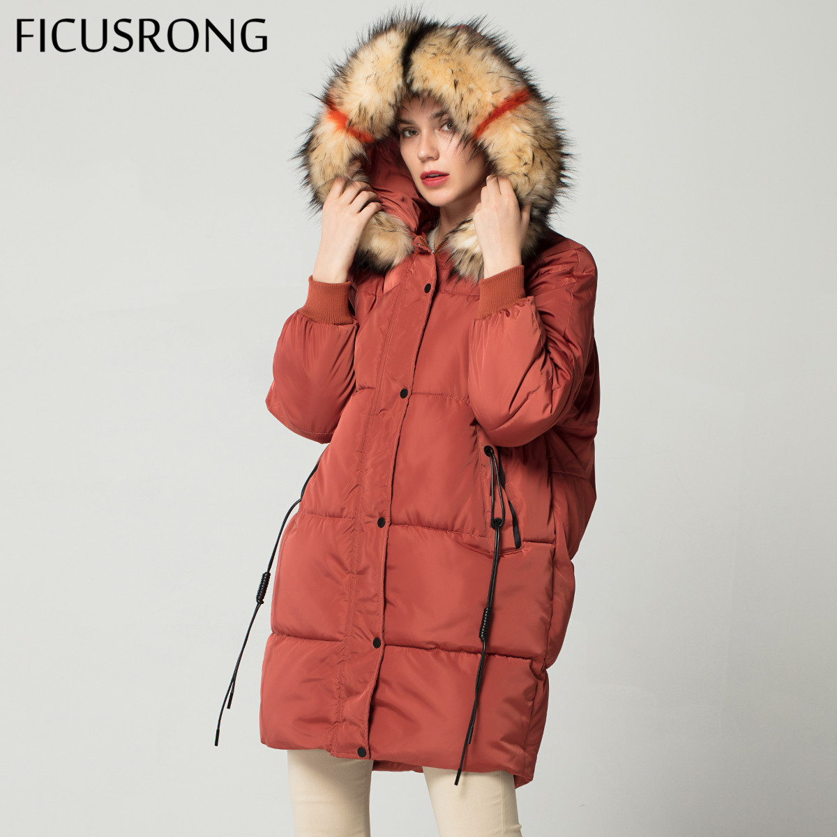 Fashion Plus Size Loose Warm Winter Jacket Women Hooded Fur Coat Down   Parkas   Long Cotton Padded Jacket Female FICUSRONG