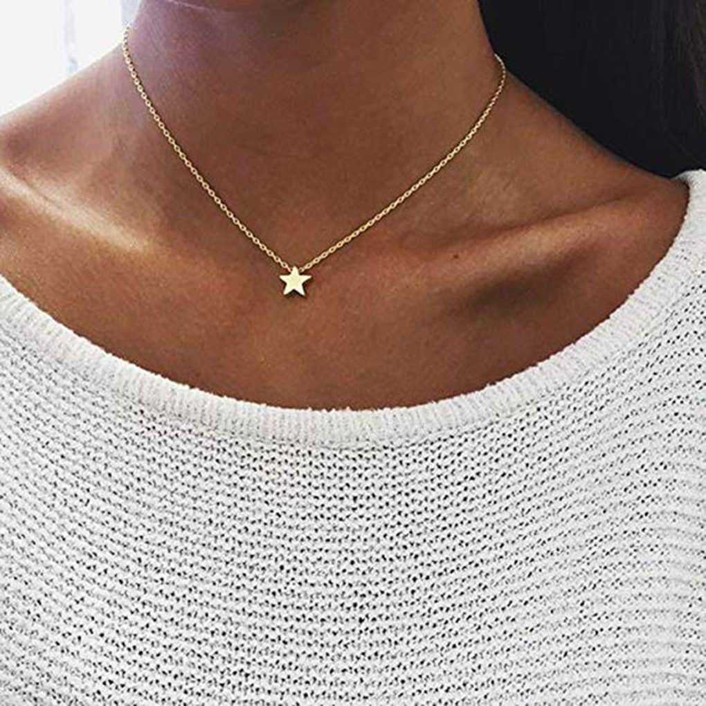 Women Star Pendant Necklace Simple Design Girls Sweater Chain Jewelry Clavicle Neck Decoration
