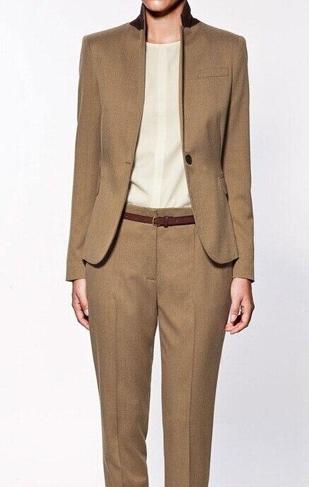 2015 New Formal Women Anzug Nach Maß Braun Büro Damen Anzug Professionelle Arbeitskleidung Kleidung Gute WäRmeerhaltung
