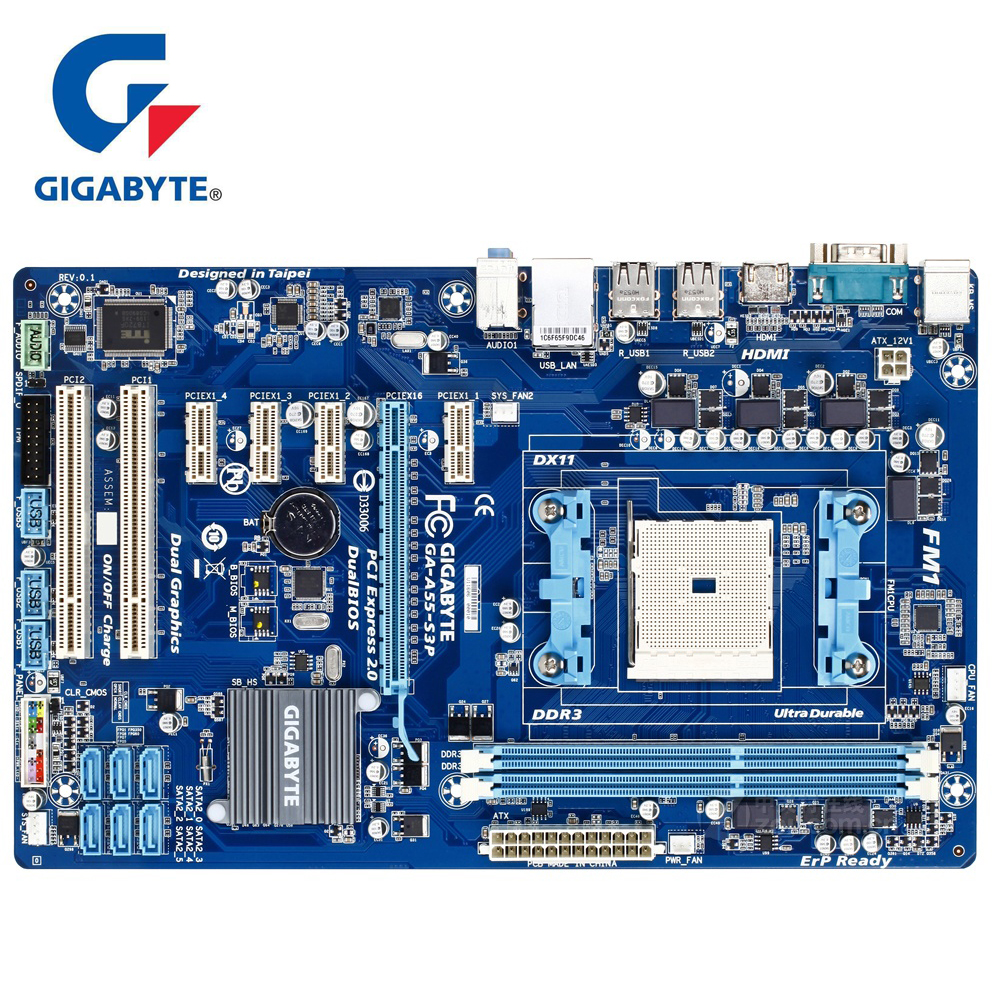 Gigabyte GA-A55-S3P 100% Original Motherboard 90% New DDR3 DIMM 32G Desktop Mainboard Boards A55 S3P A75 CPU Socket FM1 HDMI gigabyte ga ma770 s3p original used desktop motherboard ma770 s3p 770 socket am2 ddr2 sata2 usb2 0 atx