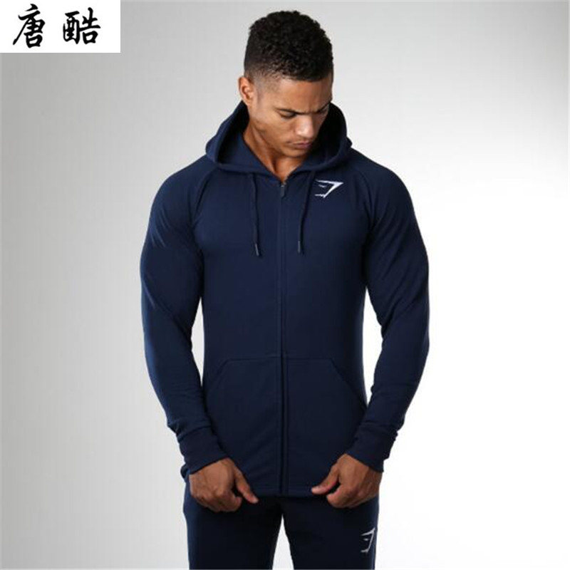 Muscle Hoodie new casual zipper pure cotton mens cardigan fashionable relaxed breathable and long sleeved coat