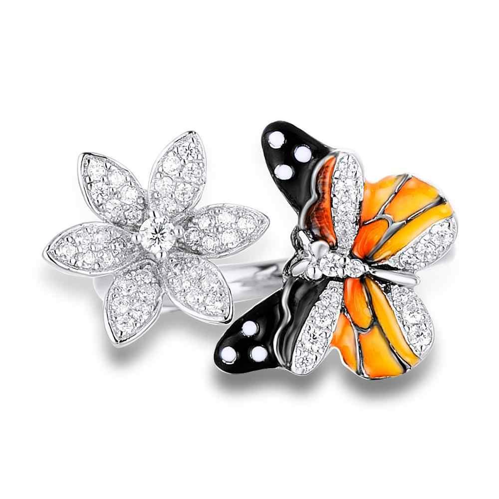 Santuzza Schmuck Set HANDGEMACHTE Bunte Emaille Schmetterling CZ Stein Ring Ohrringe 925 Sterling Silber Frauen Mode Schmuck Set