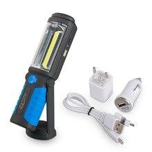 NUEVA EE. UU./EU/UK Plug USB Recargable COB + LED Flashlight, Trabajo Al Aire Libre Soporte de Luz Imán + GANCHO + de Energía Móvil Para El Teléfono Lanterna Lámpara
