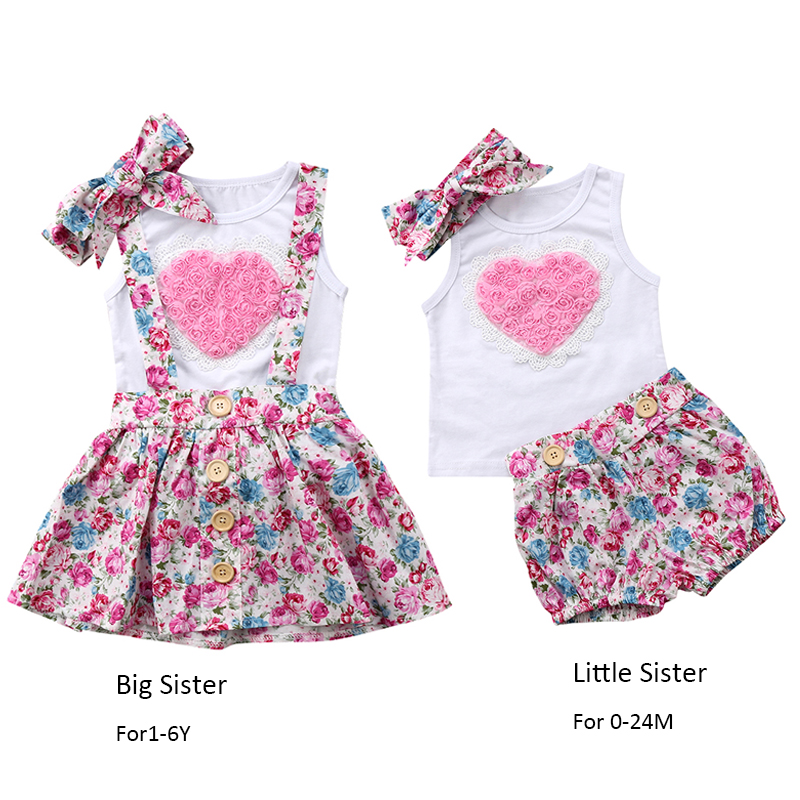 3PCS Set Sister Match Clothes Sleeveless Flower Heart Vest Tops Shorts/Overall Dress Headband Summer Family Matching Clothes corduroy overall dress