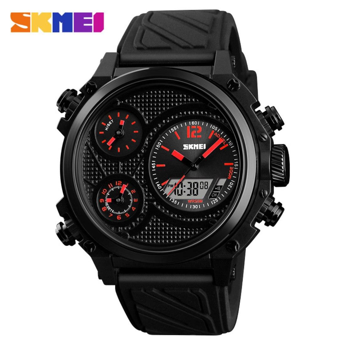 Black Men Quartz Wristwatches 3 Eyes Analog Sport Watches Luxury Military Reloj Hombre New Design Father Day Gift Silicone Hour