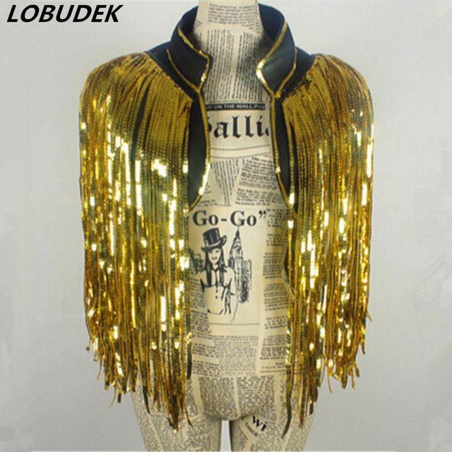 gold DS costumes dance nightclub singer new stage outfit all-match tassel Sequin vest vest over performance nightclub bar party