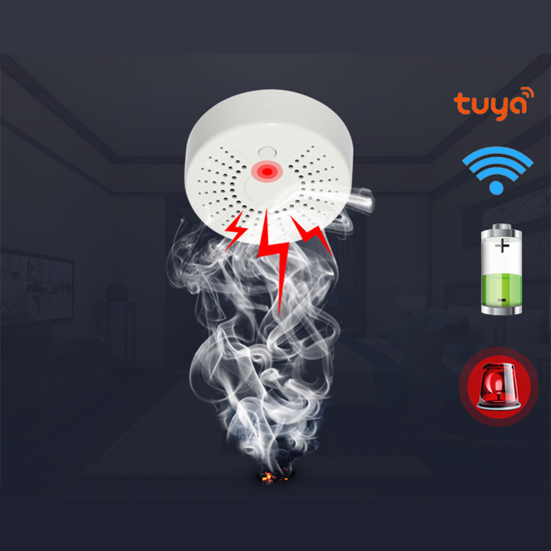 NEO COOLCAM Smart Life standalone WiFi Smoke Sensor With Temperature Detector Sensor Alarm System Wireless Smoke Detector IFTTT