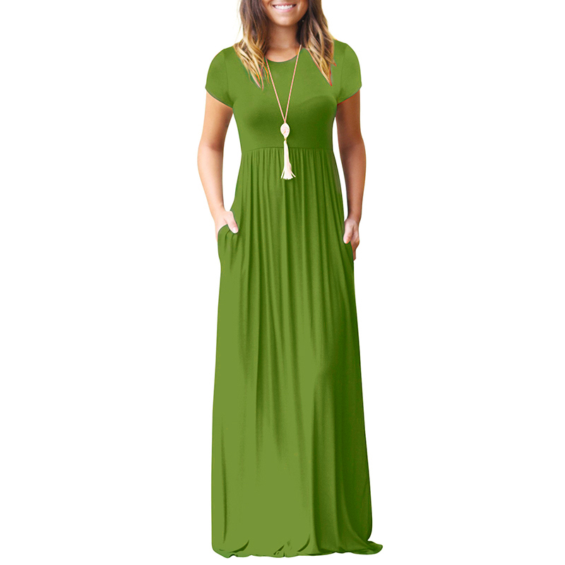 BBYES 2018 Women New Summer Maxi Long Dress Short Sleeve O Neck Solid Slim Pockets Dresses Spring Elegant Casual Party Vestidos