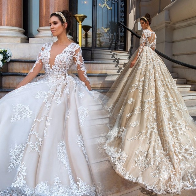 e1688efe1a9 Gorgeous Lace Ball Gown Wedding Dresses 2017 Sexy V Neck Appliques Sheer Long  Sleeve Bride Gowns Vintage Vestido De Noiva