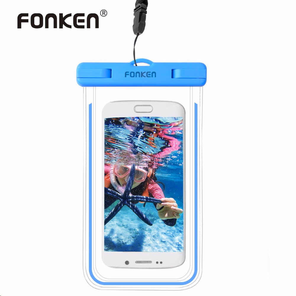 FONKEN Luminous Waterproof <font><b>Case</b></font> for <font><b>Phone</b></font> Universal 6 inch IPx8 Waterproof Bag Underwater Touch Operation Transparent Dry Bag