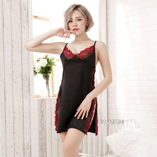Black Side Split Lingerie Babydoll Sexy Dress Erotic Sleepwear Costumes Black Ice Silk Sexy Underwear Lace Sling Nightdress women lingerie sleepwear femme sexy lace silk underwear lingerie sleepwear nightdress robe dress