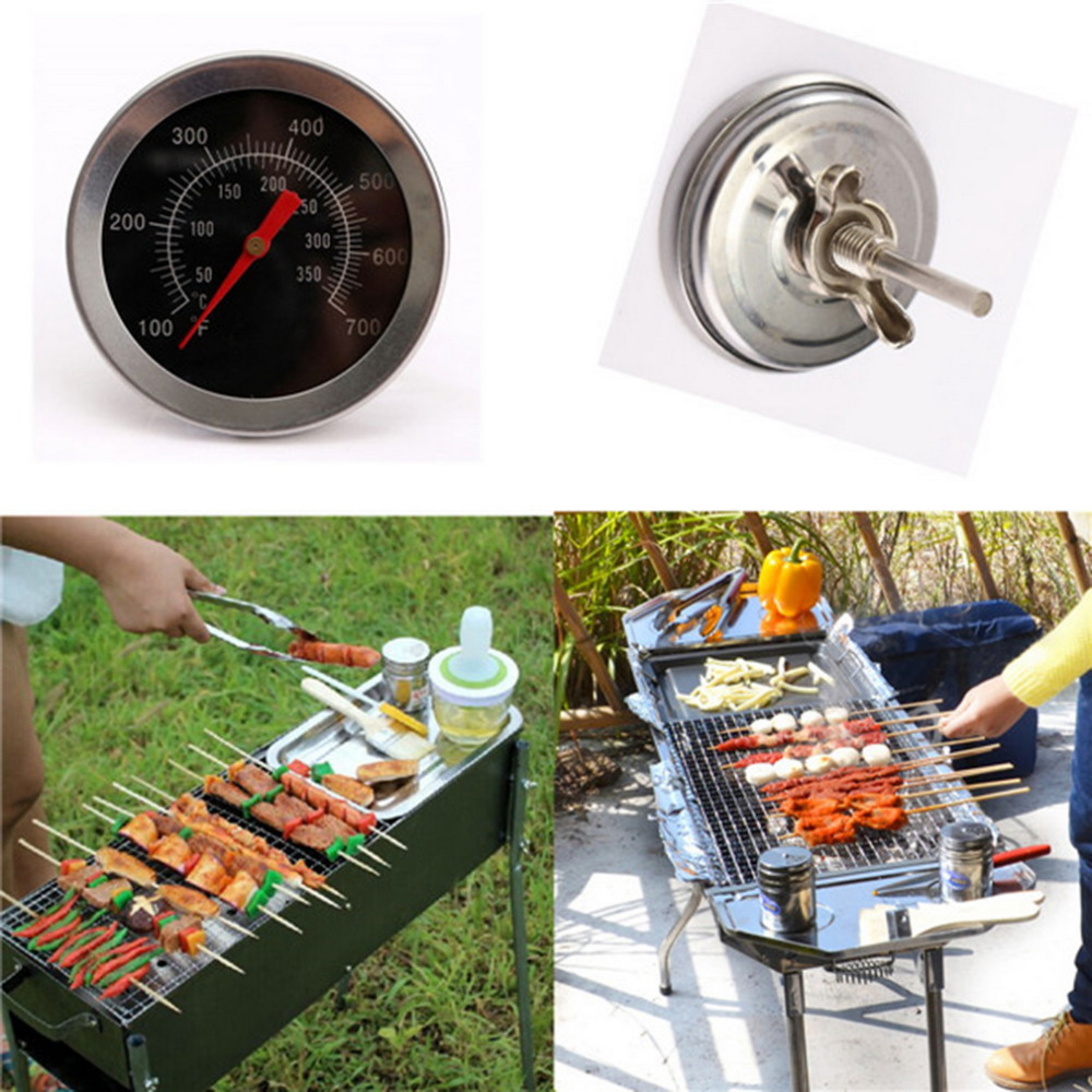 Practical Stainless Steel BBQ Smoker Pit Grill Bimetallic thermometer Temp Gauge with Dual Gage 350 Degree Cooking Tools Hot