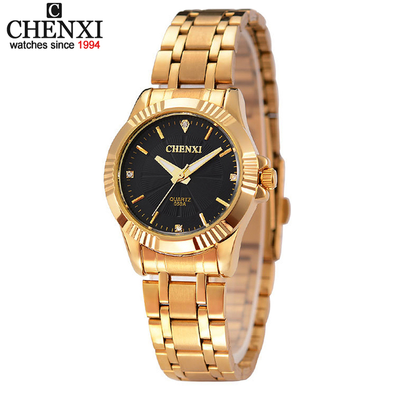 CHENXI brand fashion design business Watches Women clock casual stainless gold steel luxury wrist quartz watch
