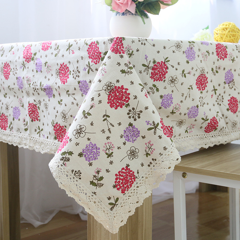 Dropship Hyacinth Linen Table Cloth Country Style Flower Print  Multifunctional Rectangle Table Cover Tablecloth With Lace Edge