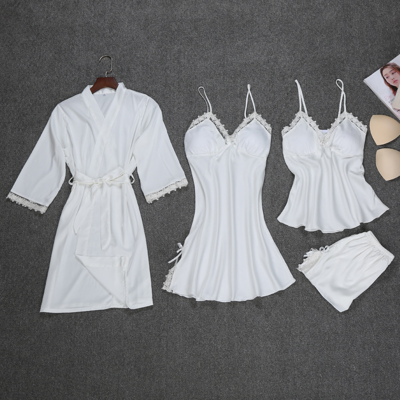 New Satin Women 4PCS Sleep Set Rayon Sleepwear Spring Long Sleeve Pajama Pyjama Set Sexy Robe Bath Gown Casual Nightwear